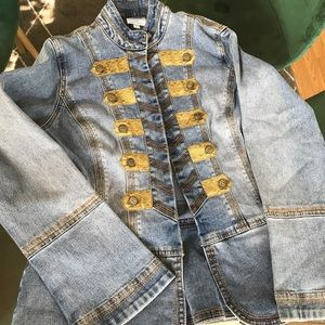 Vintage Denim Jacket with Gold Details